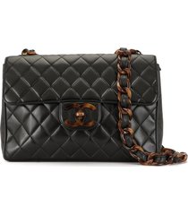 chanel pre-owned jumbo xl tortoiseshell shoulder bag - black