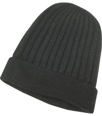 forzieri designer men's hats, black angora wool & viscose rib knit beanie hat