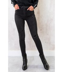 high waist skinny jeans damaged donkergrijs