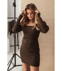 misslisibell x na-kd puff sleeve knitted dress - brown