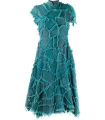 charles jeffrey loverboy frayed denim dress - blue
