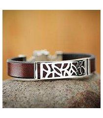 men's leather bracelet, 'evolution' (peru)