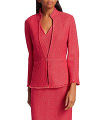 st. john women's refined knit highneck jacket - poppy - size 12