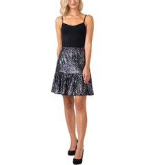 belldini women's black label sequined ruffle hem skirt