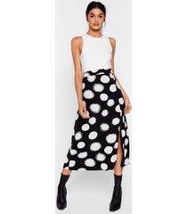 womens we've dot the answer high-waisted midi skirt - black