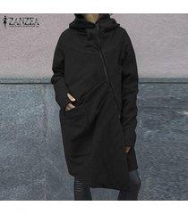 zanzea plus s-5xl mujeres camiseta postal casual hasta la camiseta de sudación outwear coat -negro