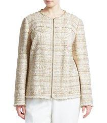 lafayette 148 new york women's plus dash artful tweed jacket - gesso multi - size 18w