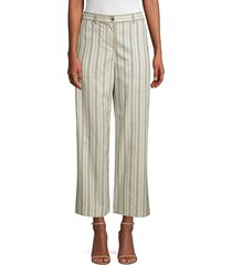 lafayette 148 new york women's fulton cropped wide leg striped pants - mercury - size 8