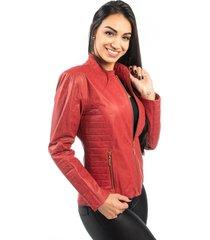 jaqueta de couro np couros com matelassê vermelho
