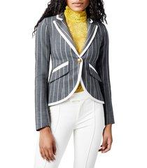 women's smythe stripe taped one-button blazer, size 12 - grey