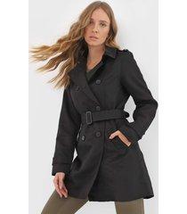casaco trench coat vero moda botãµes preto - preto - feminino - poliã©ster - dafiti