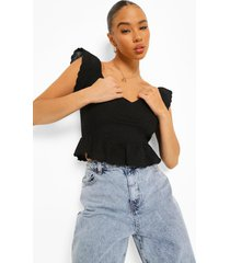 off shoulder peplum top, black