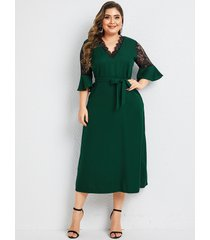 plus talla verde cinturón diseño medias mangas de encaje con cuello en v vestido