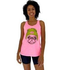 regata feminina alto conceito pug com gorro rosa flúor - kanui