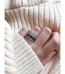 pierścionek z kamieni naturalnych płaskich
