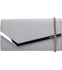 jimmy choo emmie igt clutch in silver leather