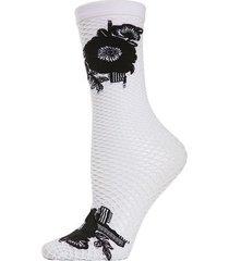 natori floral applique net crew socks, women's, white natori