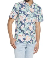 chubbies chubbie resort floral stretch short sleeve button-down shirt, size small in blue/green/coral at nordstrom