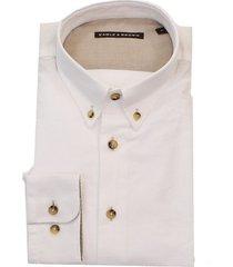 eagle & brown wit oxford overhemd