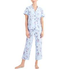 charter club notch collar capri pants pajama set, created for macy's