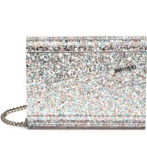 candy' asymmetric flap glitter clutch