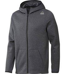 sweater reebok sport fitness qc dk fz hood