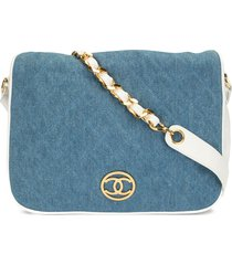 chanel pre-owned 1990 diamond quilted denim crossbody bag - blue