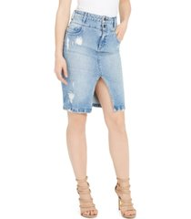 guess double waisted denim pencil skirt