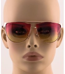 flat top retro vintage metal bar aviator oversized color gradient len sunglasses