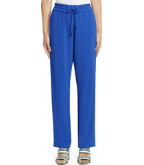 kenzo women's satin track pants - french blue - size 34 (2)