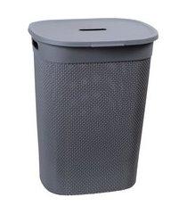 cesto de roupas roupeiro 55l plástico com tampa astra rb9 concreto