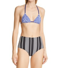 women's lemlem halima leopard triangle bikini top, size small - blue