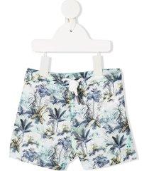 bonpoint palm tree print swim shorts - blue