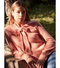 geribde cashmere trui met strik aan de hals
