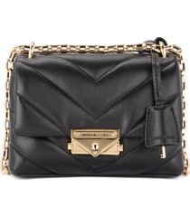 michael kors cece extra small shoulder bag in black quilted leather