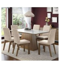 conjunto sala de jantar madesa milena mesa tampo de vidro com 6 cadeiras rustic/branco/fendi