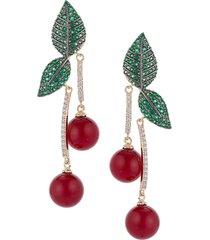 eye candy la women's the cherry luxe 18k goldplated & crystal dangle earrings