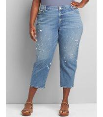 lane bryant women's signature fit boyfriend capri jean - light wash paint splatter 28 light denim
