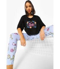 disney beauty en the beast pyjama set met leggings, zwart