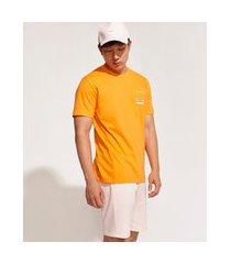 camiseta masculina pantone manga curta gola careca laranja