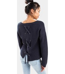 kaci lace up back pullover sweater - navy