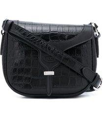 tod's bolsa tiracolo com efeito de pele de crocodilo - preto