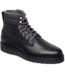 roden mid lace boot snörade stövlar svart gant