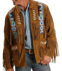 handmade men tan color suede leather western cowboy jacket men fringe jackets