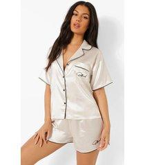 official satijnen geborduurde pyjama set met shorts, cream
