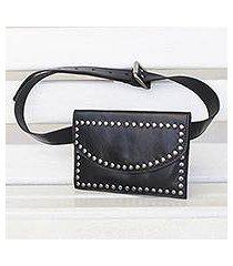leather waist bag, 'studded onyx' (brazil)