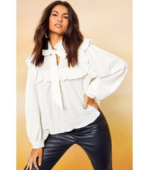 blouse met hoge kraag en strik, wit