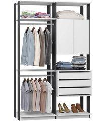 closet com armário 3 gavetas 2 cabides branco e espresso lilies móveis