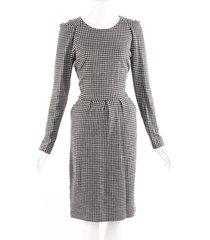 etro black white checked wool cotton sheath dress black/white sz: m