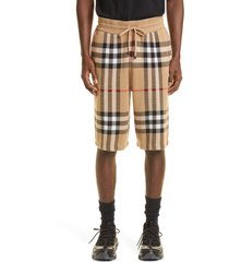 burberry men's weaver silk & wool knit shorts, size medium in soft fawn at nordstrom